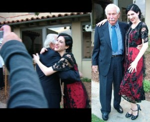 "The image on the left was taken the moment after Don and I came face to face for the first time, right after he had seen me perform as his mother for the first time (this was the 2007 Pasadena Playhouse/Pasadena Museum of History ""Channeling Hollywood"" production; the year before I began dong my annual Hollywood Forever show about Barbara)."